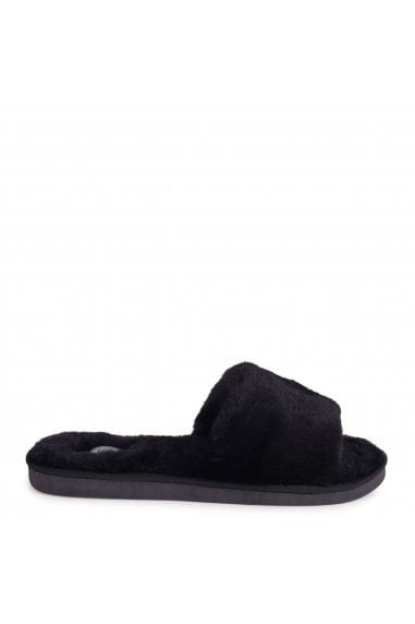 BOSSY - Black Fluffy Open Toe Slippers