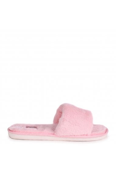BOSSY - Pink Fluffy Open Toe Slippers