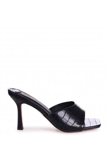 PENELOPE - Black Croc Slip On Square Toe Mule