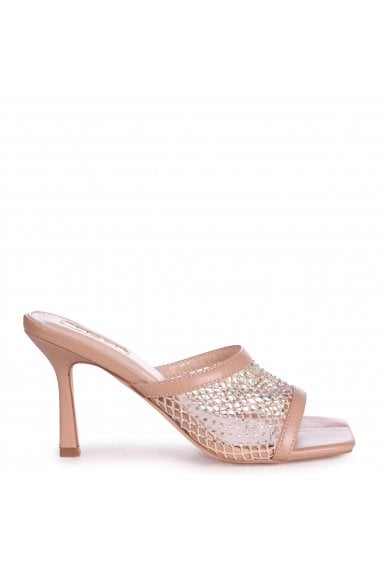 VALENCIA - Nude Fishnet and Diamante Square Toe Mule