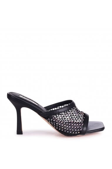 VALENCIA - Black Fishnet and Diamante Square Toe Mule