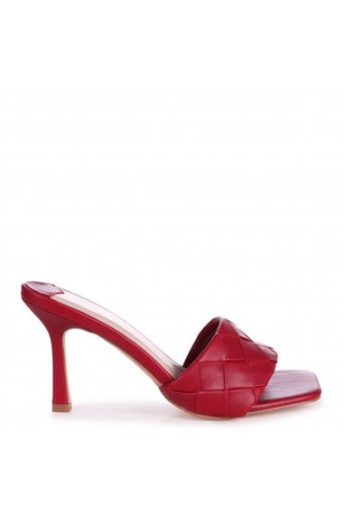CANDID - Dark Red Nappa Square Toe Heel With Woven Front Strap