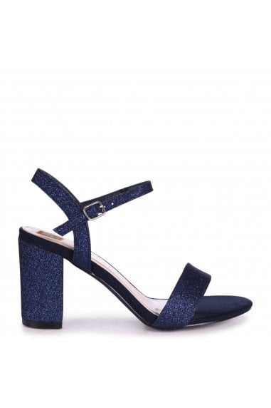 SKYLINE - Navy Glitter Open Back Barely There Block Heeled Sandal