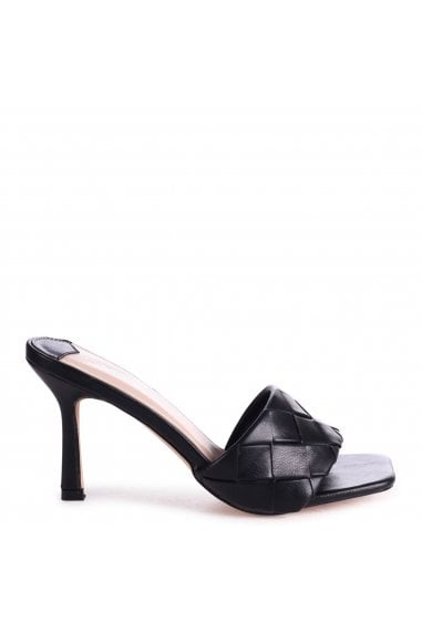 CANDID - Black Nappa Square Toe Heel With Woven Front Strap