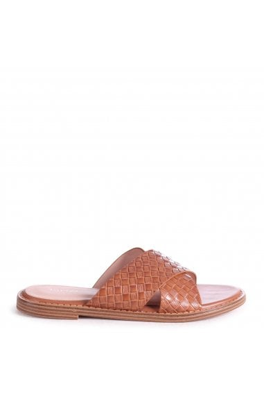 HARLEM - Tan Slip On Slider With Woven Crossover Front Strap
