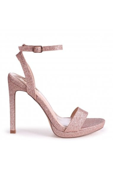 HIGHER LOVE - Rose Gold Glitter Open Back Barely There Stiletto Sandal
