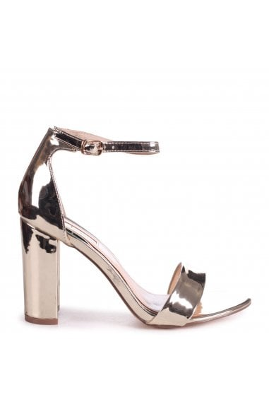 NELLY - Gold Chrome Single Sole Block Heel