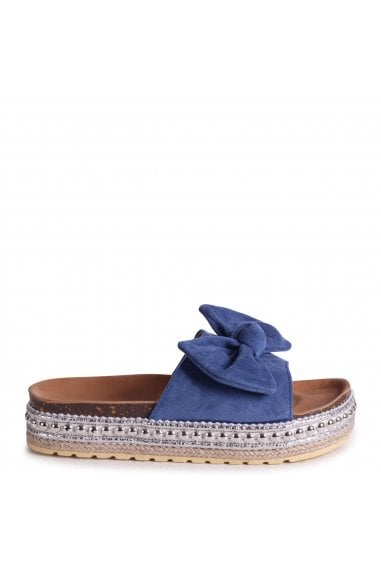 RARE - Blue Suede Slip On Slider With Bow Detail and Beaded Trim