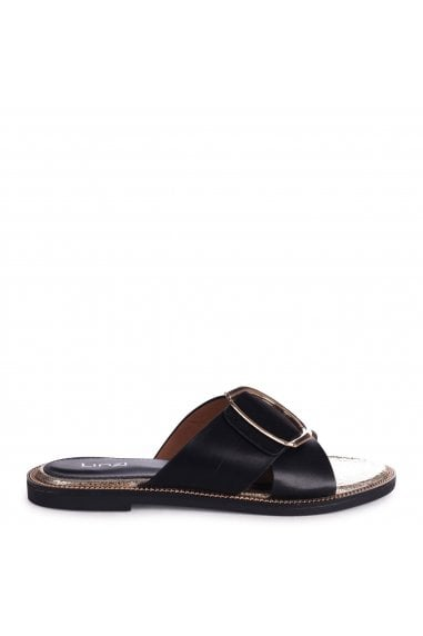 VEGAS - Black Slip On Slider With Crossover Front Strap and Giant Buckle Detail