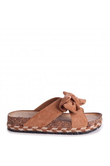 BALI - Tan Suede Slip On Slider With Bow Detail