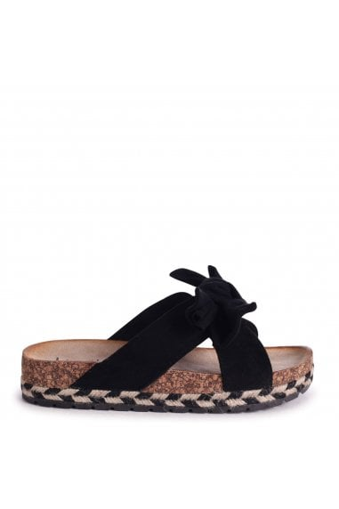 BALI - Black Suede Slip On Slider With Bow Detail