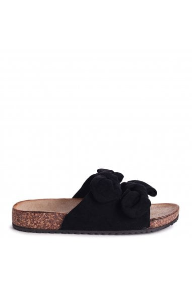 RIVIERA - Black Suede Slip On Slider With Double Bow Detail