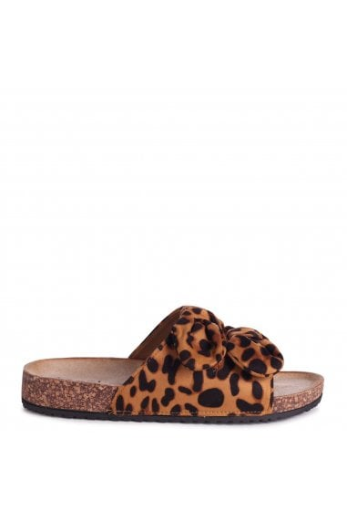 RIVIERA - Leopard Suede Slip On Slider With Double Bow Detail