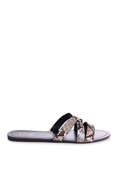 GALIA - Black Snake Print Flat Slip On Slider With Link Shaped Front Strap