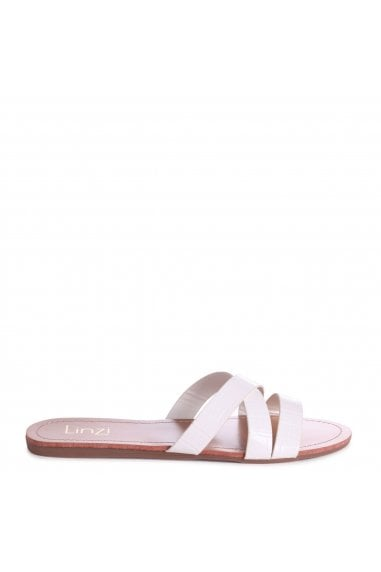 GALIA - White Croc Flat Slip On Slider With Link Shaped Front Strap