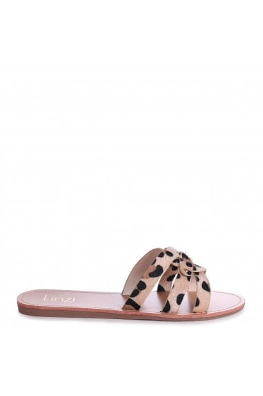 OPRAH - Leopard Pony Flat Slip On Slider With Link Shaped Front Strap