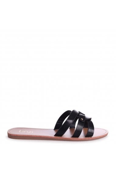 OPRAH - Black Nappa Flat Slip On Slider With Link Shaped Front Strap