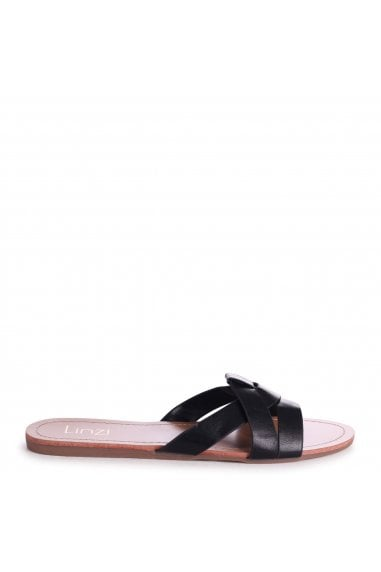 MARRI - Black Nappa Flat Slip On Slider With Woven Front Strap
