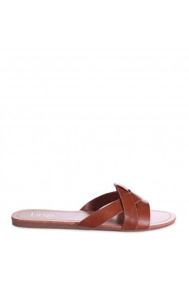 MARRI - Tan Nappa Flat Slip On Slider With Woven Front Strap