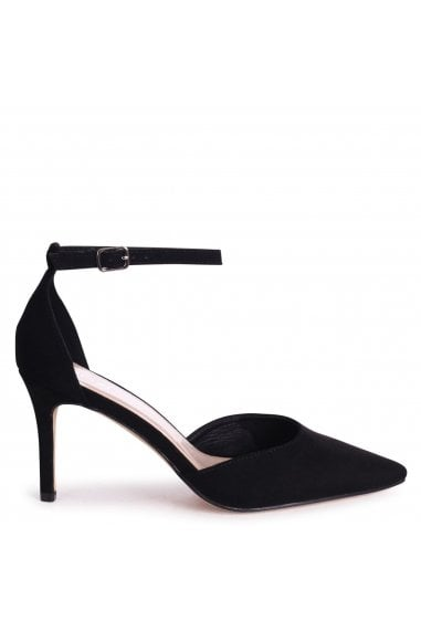 MACI - Black Suede Stiletto Court Heel With Ankle Strap