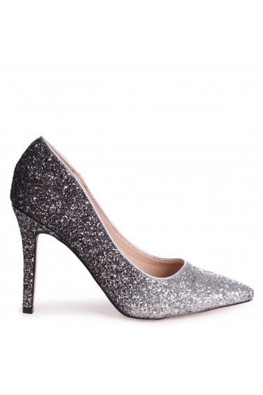 DYNAMIC - Silver and Black Glitter Ombre Stiletto Pointed Court Heel