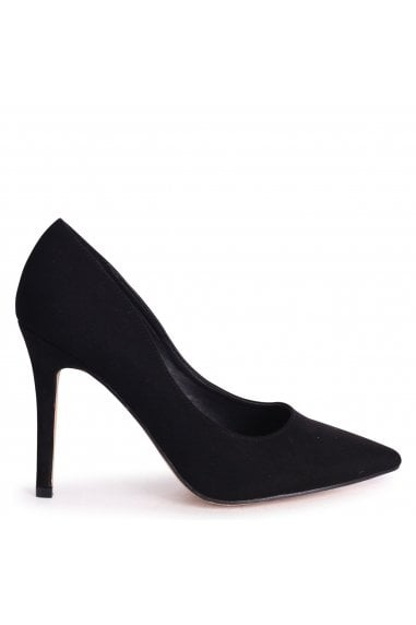 DYNAMIC - Black Suede Stiletto Pointed Court Heel