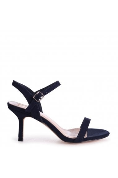 LILA - Navy Suede Small Barely There Heeled Sandal