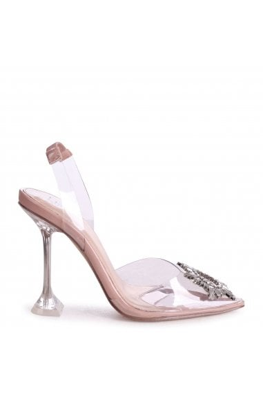 ENDANGERED - Perspex Sling Back Court Heel With Embellished Trim