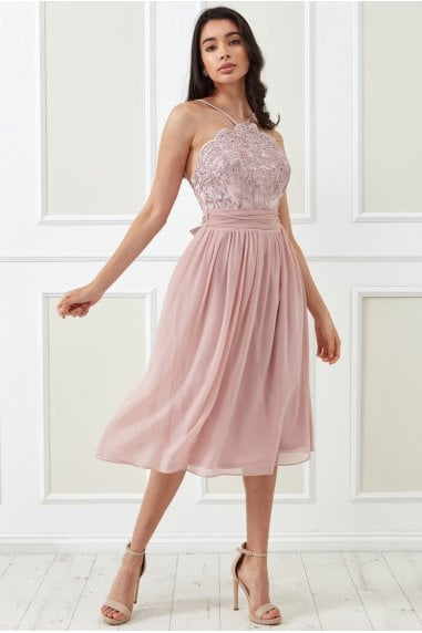 Goddiva Lace Halter Neck Chiffon Midi Skirt Dress - Blush