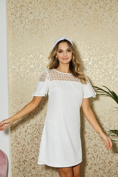 Watford White Lace Yoke Mini Shift Dress