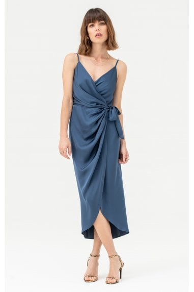 Tie Side Cami Wrap Dress in Navy