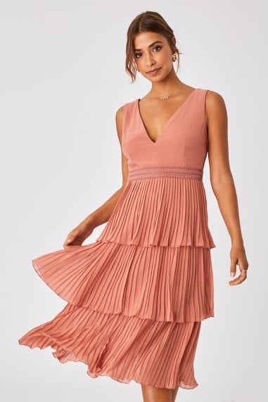 Ada Rose Gold Tiered Hem Midi Dress
