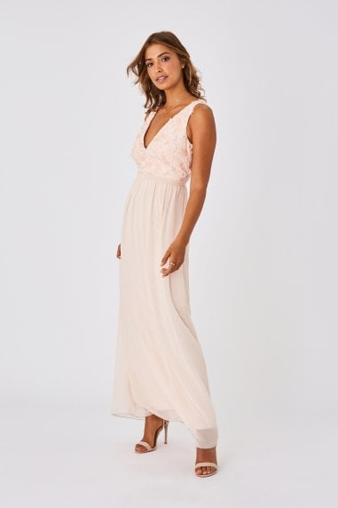 Mariska Bridesmaid Nude Floral Applique Maxi Dress