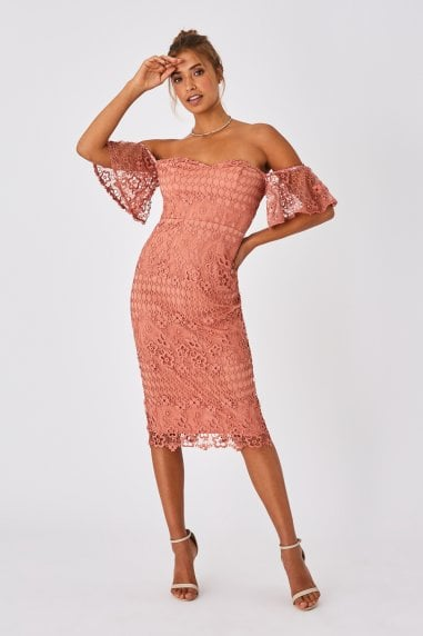 Ada Rose Gold Crochet Lace Bardot Midi Dress
