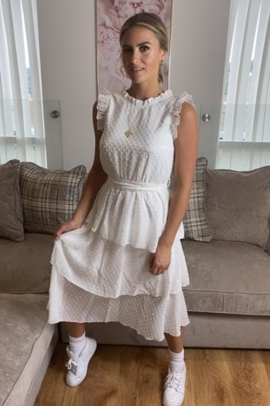 Yves White Dobby Spot Tiered Midi Dress