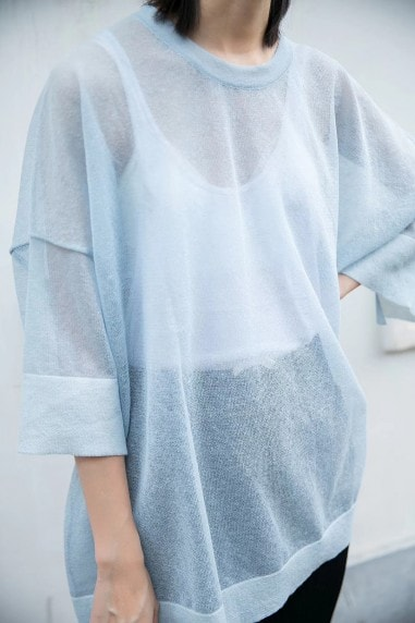 Blue Oversized Semi-Transparent Top