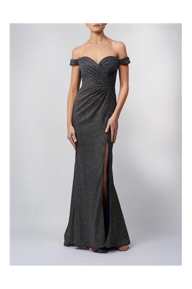 NOVA NAVY ROUCHED OFF-SHOULDER SPARKLE SLIT MAXI DRESS