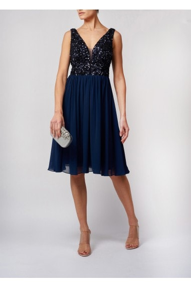 FLICKERING SEQUIN TOP SOFT FLOWING CHIFFON KNEE LENGTH DRESS