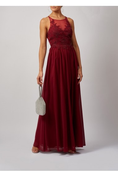ADJUSTABLE TIE BACK LACE DIAMOND APPLIQUE MAXI DRESS