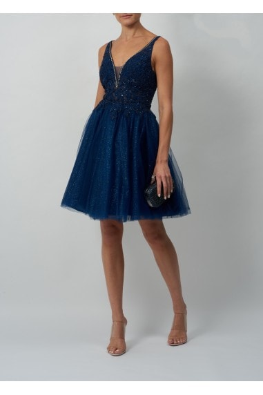 DIAMONTE V PLUNGE EMBROIDED SPARKLE SHORT TULLE DRESS