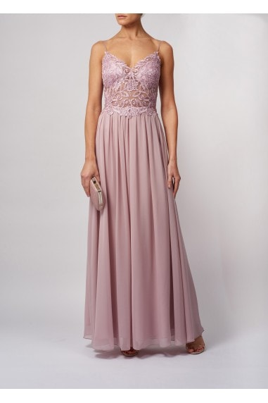 DELICATE PETALLED CLEAR APPLIQUE CHIFFON MAXI DRESS