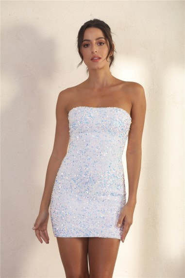 Bandeau Bodycon Sequin Mini Dress