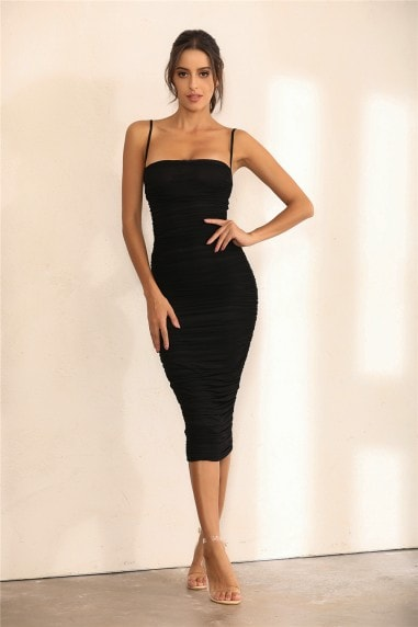 Ruched Mesh Bodycon Midi Dress