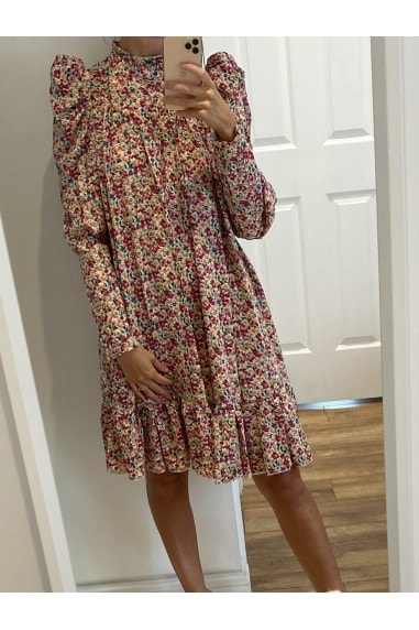 Puff Sleeve Ruffle Smock Dress in Floral Print