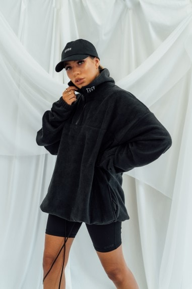 Quarter Zip Oversized Fleece Sweat - Black