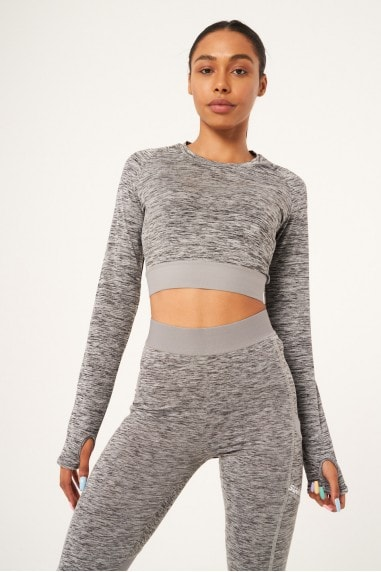 Contour Cropped Fitted Long Sleeved Tee - Light Grey