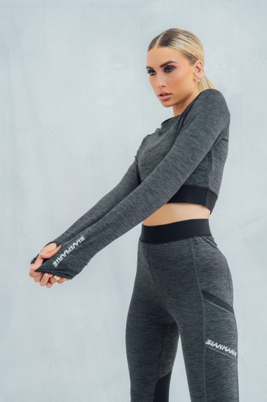 Contour Cropped Fitted Long Sleeved Tee - Dark Grey