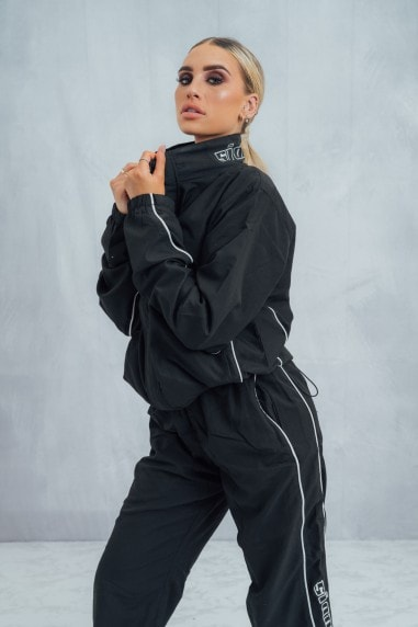 Loose Fit Piped Zip Jacket - Black/White