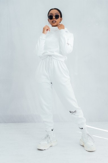 Essential High Waisted Baggy Joggers - White