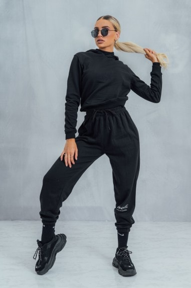 Essential High Waisted Baggy Joggers - Black